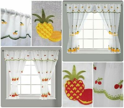 New Kitchen Window Curtains Set Rod Pocket Kingston Attached Valance Tiebacks Ebay