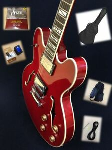 Haze-SEG-272Cherry-Semi-hollow-Body-034-F-034-Holes-Electric-Guitar-Free-Gig-Bag-Picks