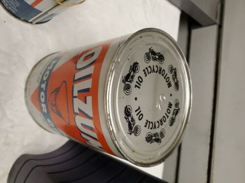 NOS Vintage Oilzum 70wt Oil Can Great Graphics full QT Harley Motorcycle collect