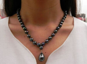 New-jewelry-8mm-Rainbow-Black-South-Sea-Shell-Pearl-Drop-Pendant-Necklace-18-034-AAA