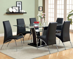 Details About New 7pc Tucola Modern Gl Top Chrome Black Or White Dining Table Set Chairs