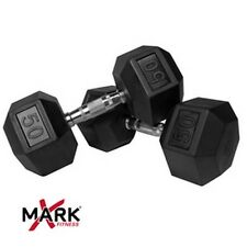 XMark Fitness XM-3301-50-P Pair of 50 lb. Rubber Hex Dumbbells NEW