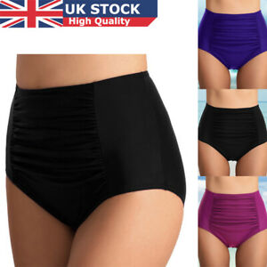436037ea56d6c Women High Waist Ruched Bikini Bottoms Tummy Control Swimsuit Briefs ...