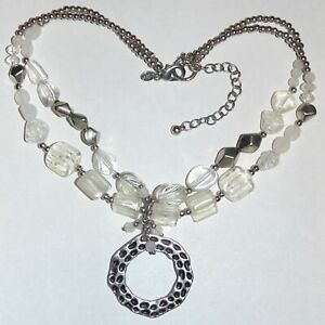 Signed-Chico-039-s-white-clear-glass-acrylic-beads-double-strand-pendant-necklace