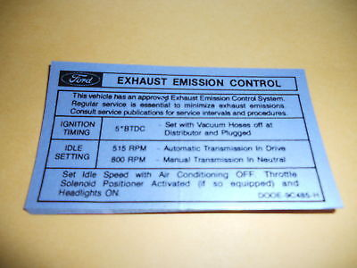 1970 FORD TORINO RANCHERO 302 ENGINE EMISSIONS DECAL MI | eBay Ignition Wiring Diagram For Ford Torino on