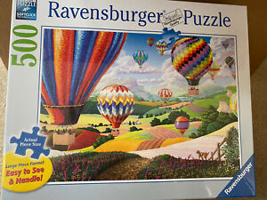 NEW-Ravensburger-Brilliant-Hot-Air-Balloons-500-Pc-Large-Piece-Puzzle-NEW