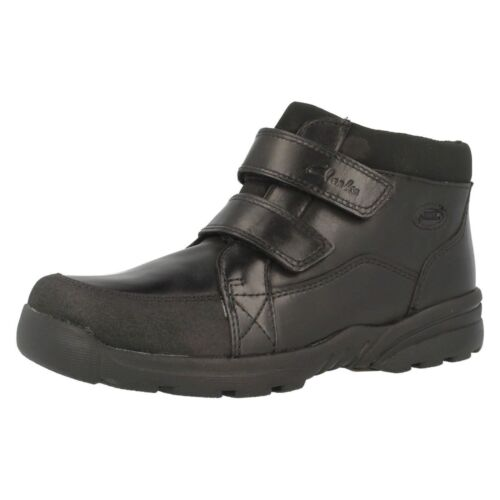 Clarks 'Diggy Up GTX' Boys Black Leather Boots