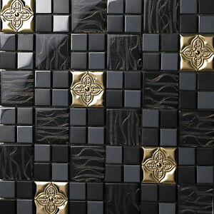 Kitchen Tiles Mosaic black gold glass metal flower kitchen backsplash bathroom wall