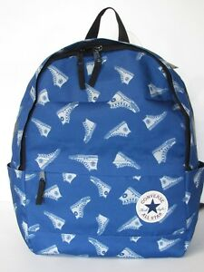 61aa0c85d8 Image is loading CONVERSE-Blue-Sneakers-Print-Gym-Travel-School-Backpack-