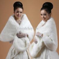 hot sale big faux fur wedding wrap shrug stole winte bridal shawl white black