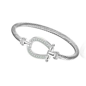 18K-White-Gold-Plated-Lucky-Horse-Shoe-Bangle-7-8-034-Made-with-Swarovski-Crystals