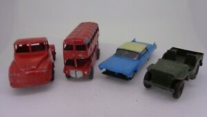 4x-Vintage-Diecast-Lone-Star-Jeep-Truck-Routemaster-Bus-Cadillac-Sedan-62