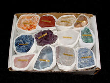 NATURAL CRYSTAL GEMSTONES BOX CHAKRA MINERALS COLLECTABLE SET NEW AGE REIKI