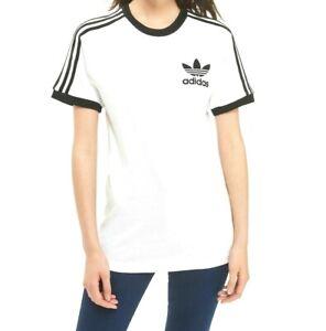 Nouveau-Femmes-Adidas-California-CORNICULE-T-Shirt-a-Manches-Courtes-Noir-Blanc-S-M-L-XL