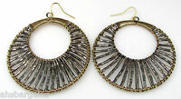 Large 2.25 Gold Wire Wrapped Metallic Pewter Beaded Double Hoop Earrings