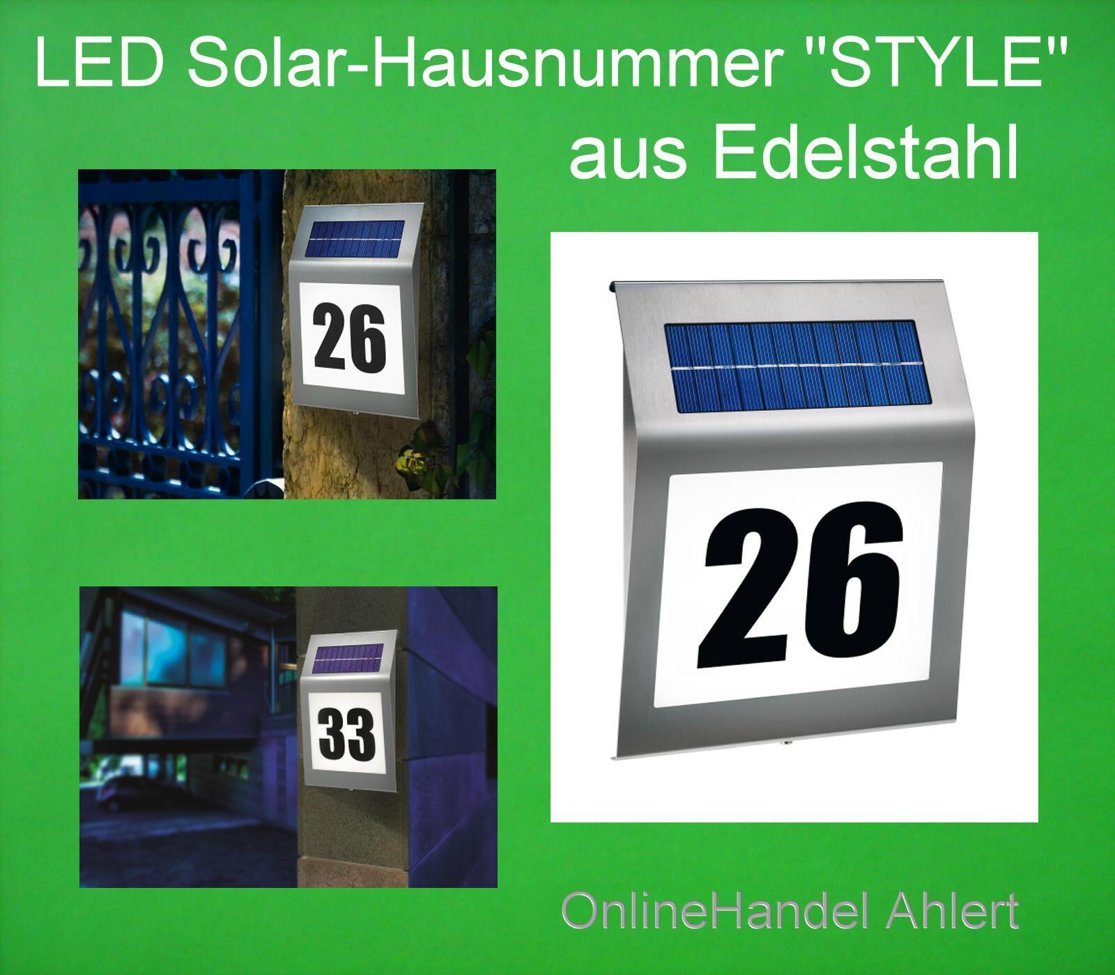 LED Solar Hausnummer Edelstahl Hausnummernleuchte STYLE Pro Design Beleuchtung