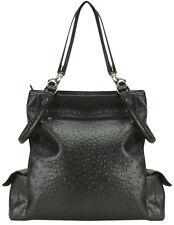 Isabella's Journey Black Faux Ostrich Handbag