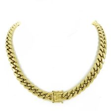 12mm Men Cuban Miami Link Chain 14k Gold Plated Stainless Steel 200 Grams Heavy