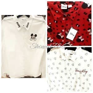 New-DISNEY-Mickey-Mouse-Ladies-Shirt-Smart-Casual-Long-Sleeve-white-top-Primark