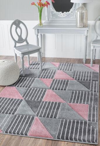 New Grey Rugs Blush Pink Ochre Navy Silver Hexagon Honeycomb Stripy Design Rug