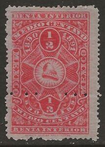 Mexico-Revenue-1890-91-Renta-Interior-c-Orange-Red-Fine-HR-CV-7-50