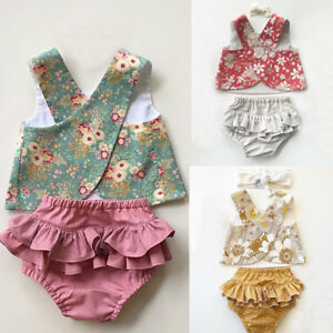 USSTOCK-Flower-Baby-Girls-Outfit-Clothes-Vest-Tops-T-shirt-Tutu-Shorts-Pants-Set