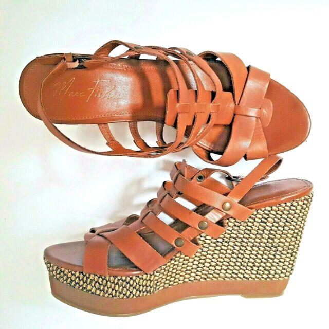 decb46087b0 Marc Fisher Haelee Leather Gladiator Espadrille Platform Wedge Cage Sandal  Sz 10