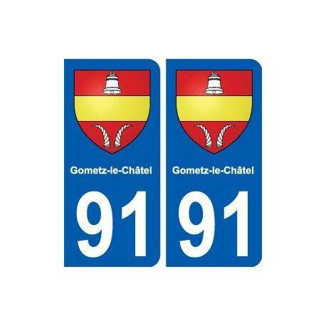 91 Gometz-le-Châtel blason autocollant plaque stickers ville droits