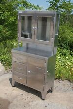 Stainless Steel Medical Cabinet 6ft Tall 3 Drawers 3 Door Top Sight Glass