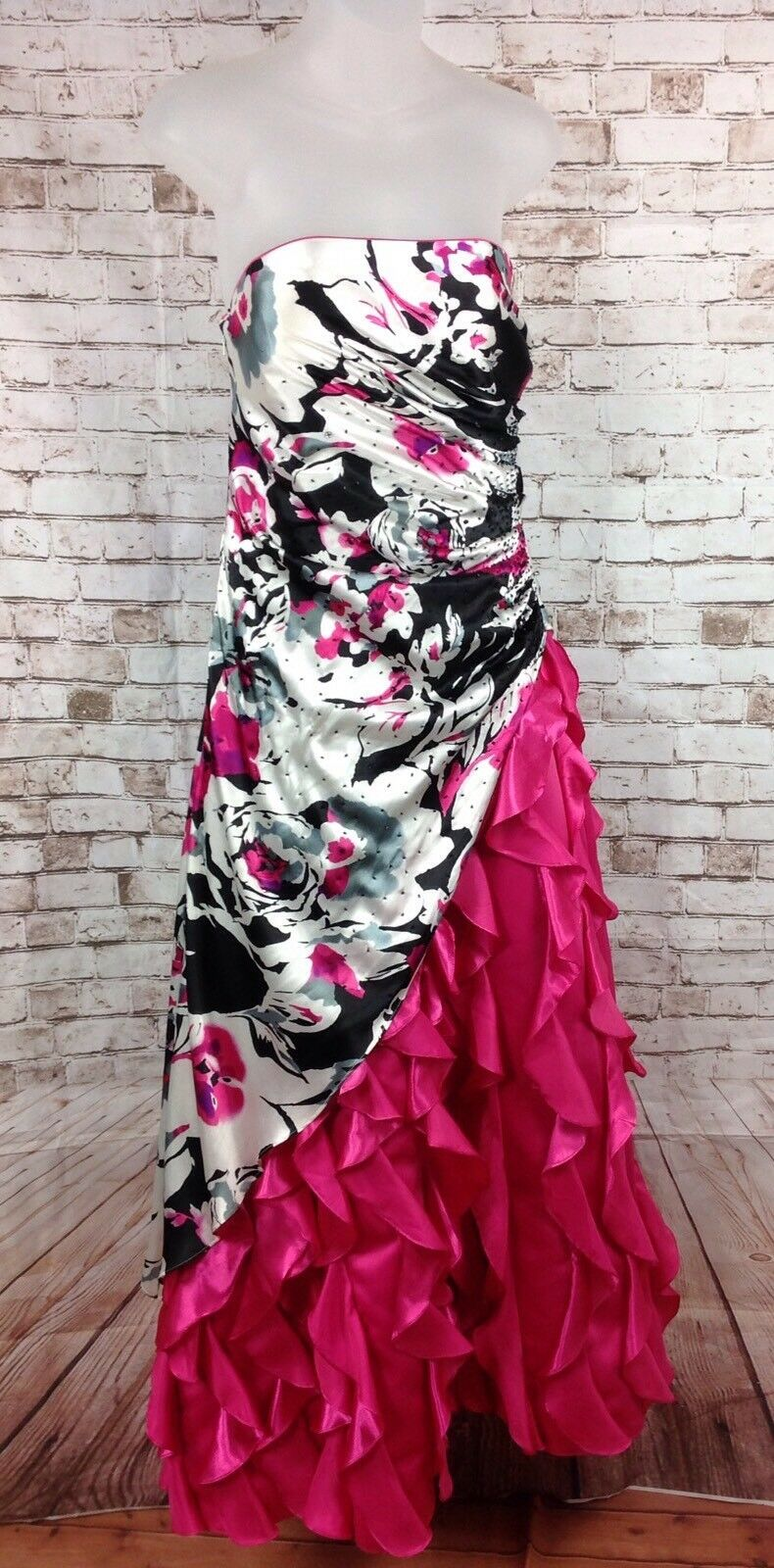 Jump Apparel Formal Long Floral Strapless Gown Prom Dress Size 7   8 Pink Ruched
