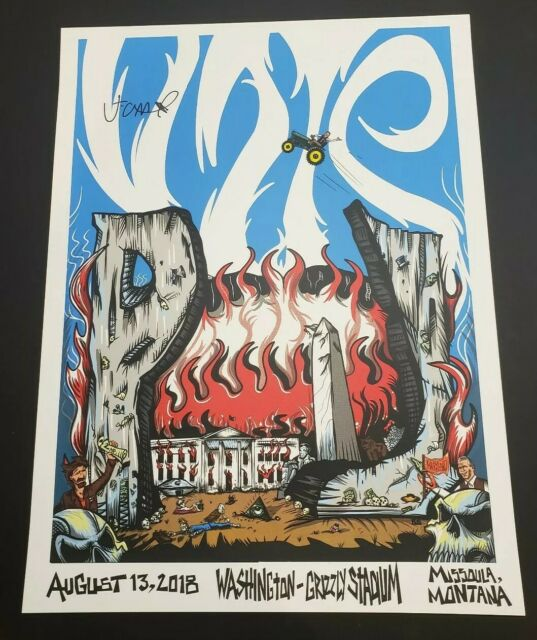 Jeff Ament Signed Pearl Jam Missoula Montana Poster Tester Trump Vedder Awesome