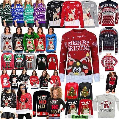 Preiswert Kaufen Womens Mens Ladies Unisex Xmas Christmas Jumpers Knitted Reindeer Retro 3d Light Aromatischer Geschmack