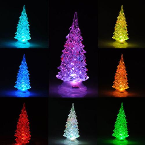 Colorful Christmas LED Artificial Crystal Decoration XMAS Night Light Tree AA