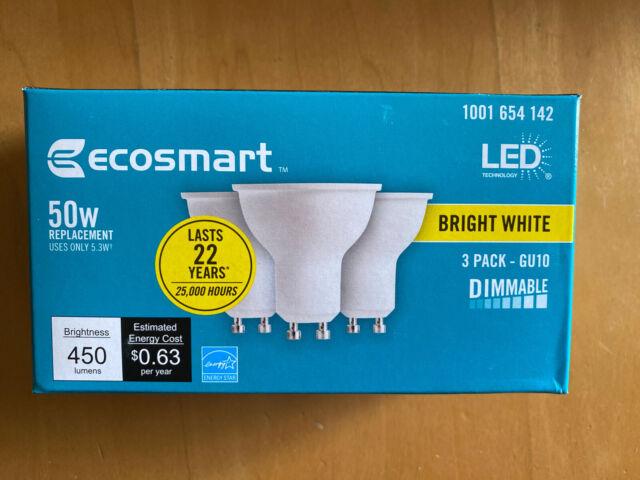 NEW- EcoSmart 50 Watt - 50W Bright White Bulbs - MR16 GU10 - Dimmable - (3 Pack)
