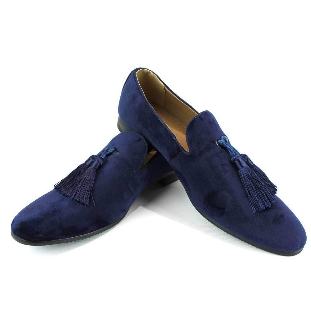 bluee Velvet Slip On Loafers Tassel Men's Dress shoes Modern Formal  By AZAR MAN