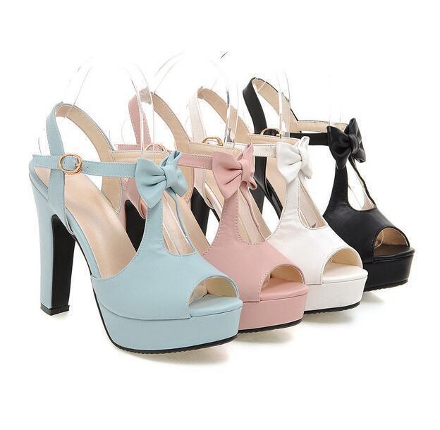Women's Block High Heel  Open Toe shoes Platform  Ankle Strap Sandals Uk Size