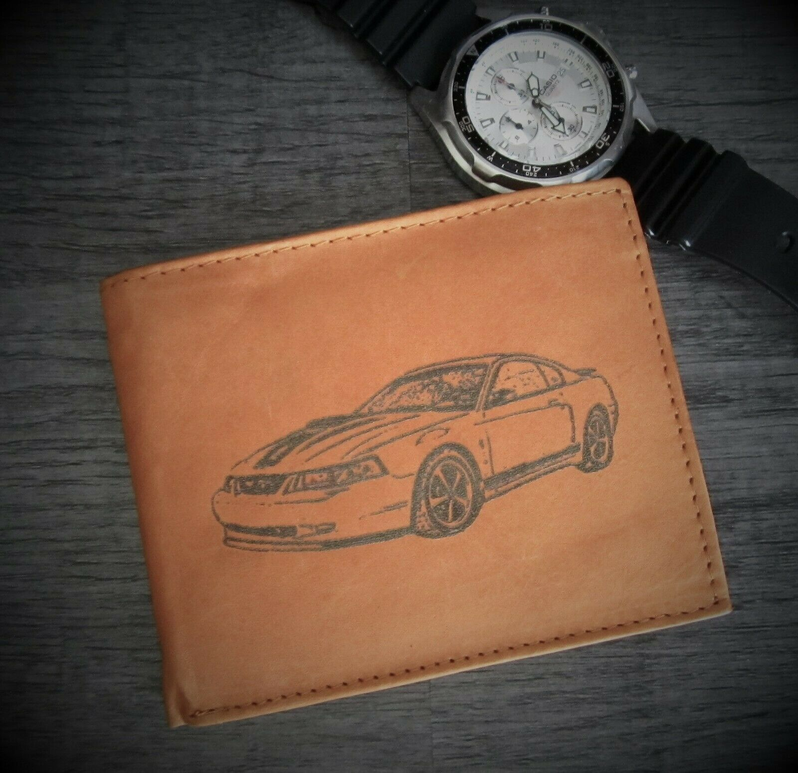 Mens Custom Bifold Leather Wallet with 2003-2004 MUSTANG MACH 1 Car Image *Gift*