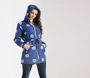 Charcoal-Fashion-Women-039-s-Navy-Floral-Print-Water-Resistant-Festival-Mac