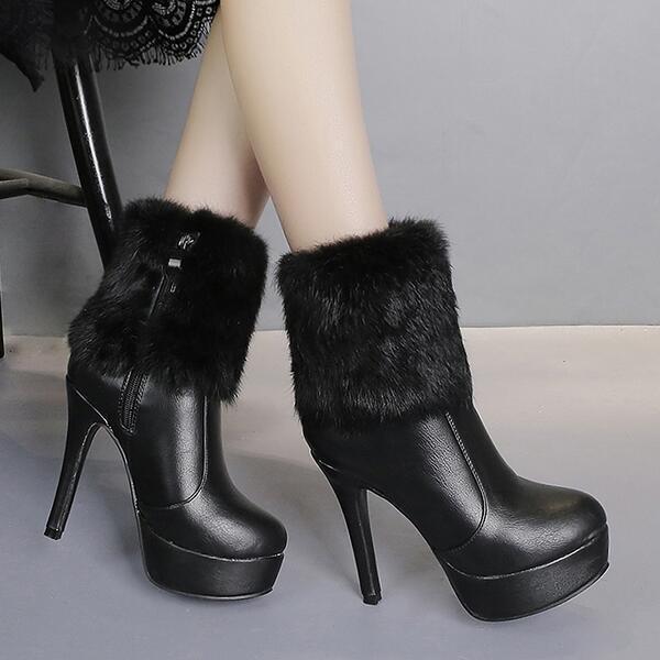 botas bajo zapatos tacón de aguja 12 12 aguja cm negro 2 elegantes como piel 9489 d24548