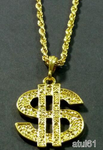 Dollaro NY CROSS MEDALLION COLLANA CATENA Hip Hop Bling Rapper Gangster Costume Nuovo