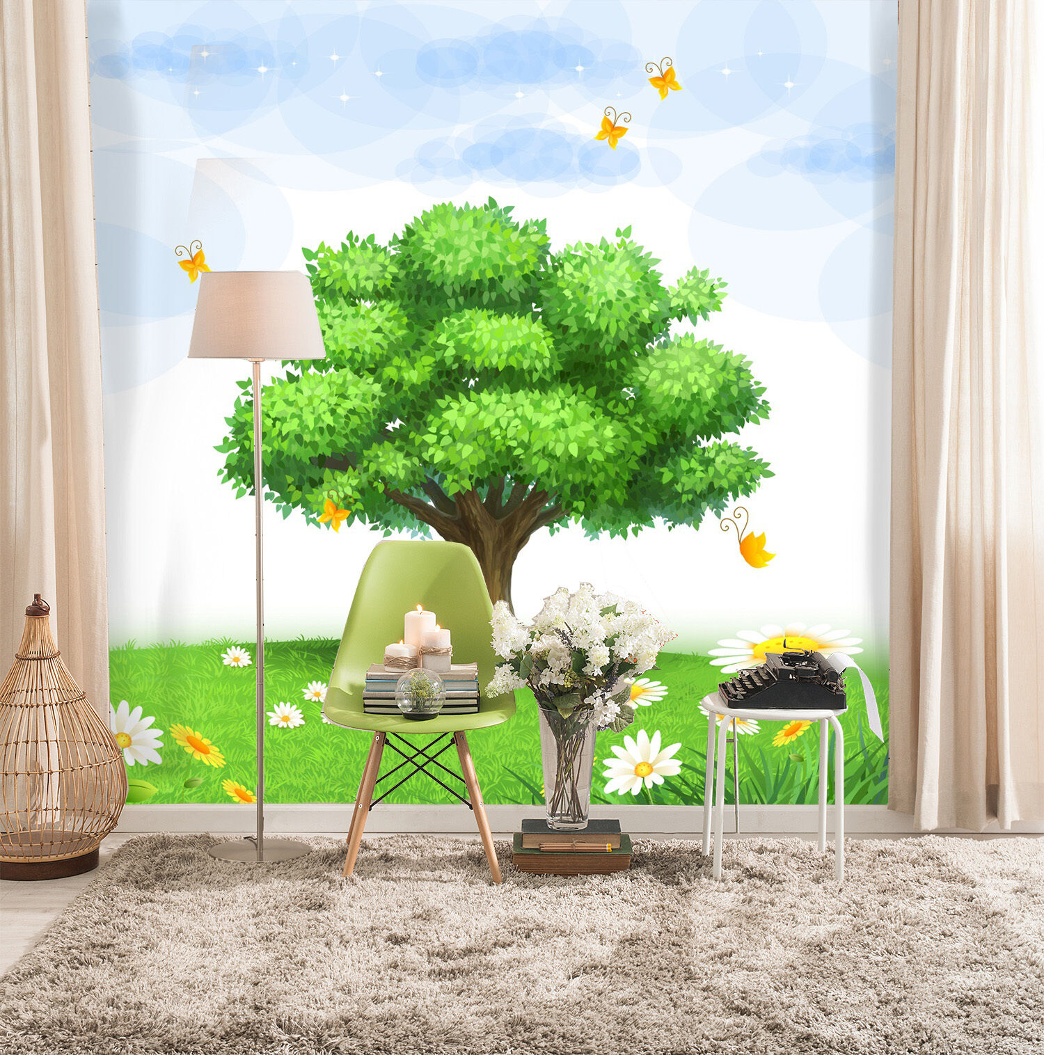 3D Tree And Butterflies 1787 Paper Wall Print Wall Decal Wall Deco Indoor Murals