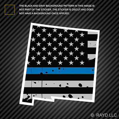 Distressed Thin Blue Line Nevada State Shaped Subdued US Flag Sticker police NV