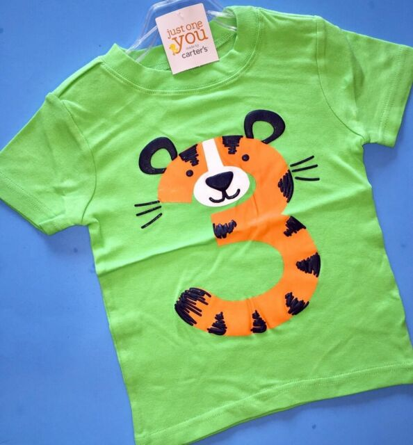 3rd Birthday TIGER Baby Boys Shirt 4T Green 3 Years Gift SS Carters