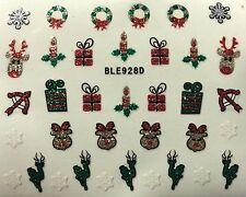 Nail Art 3D Glitter Decal Stickers Christmas Reindeer Presents Wreath BLE928D