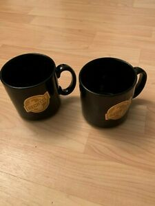 VTG-Set-of-2-Bechtel-Company-Black-Gold-Logo-Coffee-Mug-Cup