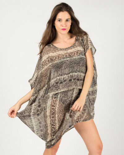 Lady leopard print paisley print oversized casual top relaxed fit