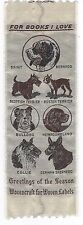 Vintage For Books I Love Cloth Dog Bookmark Wovencraft for Woven Labels