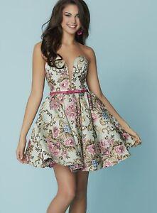 NWT-Hannah-S-27168-Fuchsia-Multi-Size-6-dress-Brocade-multi-colored-HOMECOMING