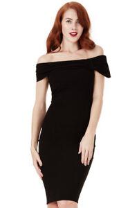 promo code 32979 967c1 Dettagli su Vestito donna tubino corto nero Bardot con fiocco tessuto crepe  cocktail tg 48
