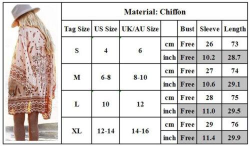 Women Boho Loose Floral Chiffon Long Maxi Tops Cardigan Shirt Jacket Kimono Coat